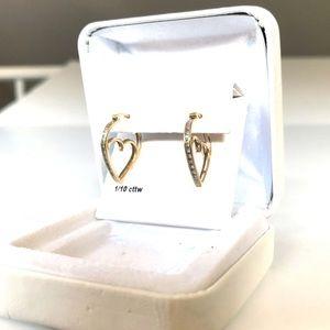 EUC Diamond & 10K Gold Heart Earrings